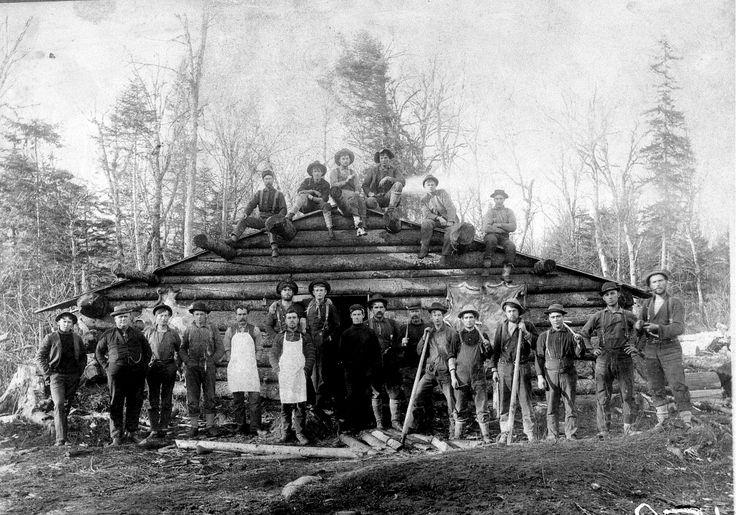 Early Maine logging camp
