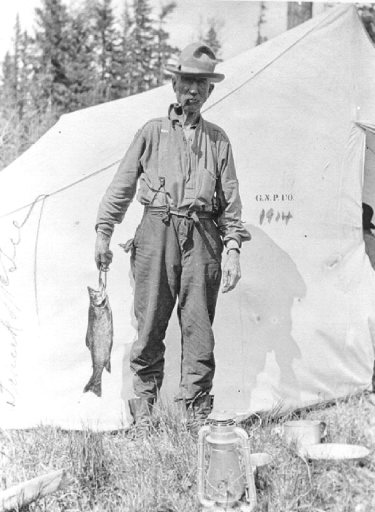Good fishing at GNP woods camp, 1914