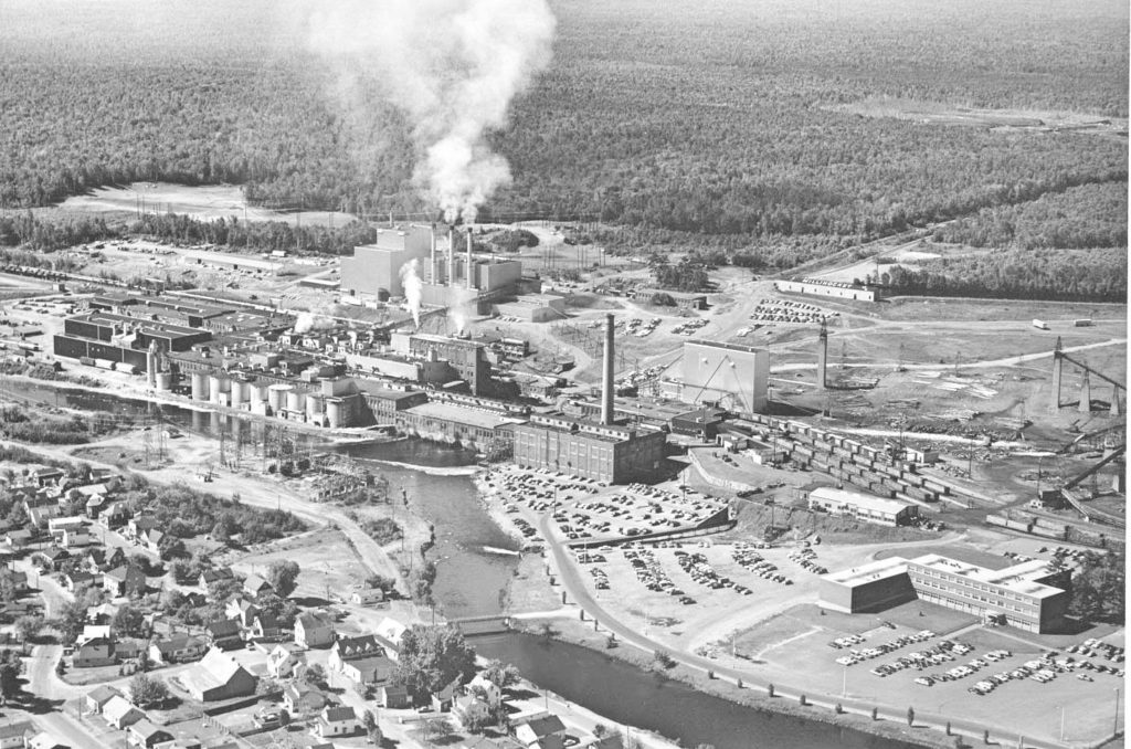 Aerial view of Millinocket Mill, circa 1970