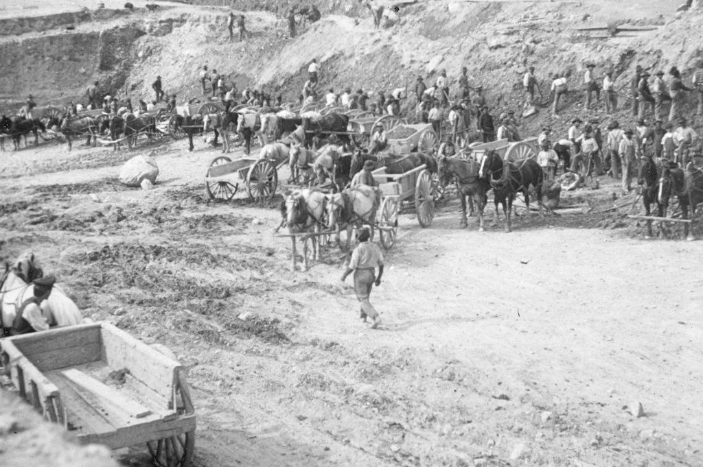 Excavating the foundation of Millinocket Mill, circa 1900